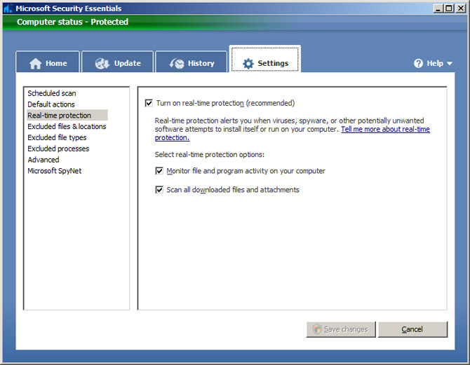 Microsoft Security Essentials Control Panel