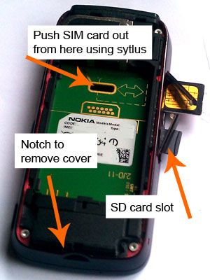 How to remove back cover, SIM card and SD card from Nokia 5800