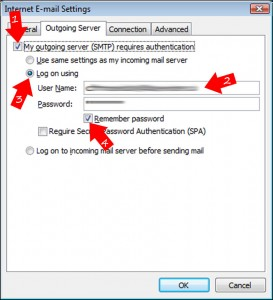 On the new window, click the 'outgoing server' tab