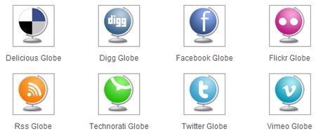 Globe social media icons