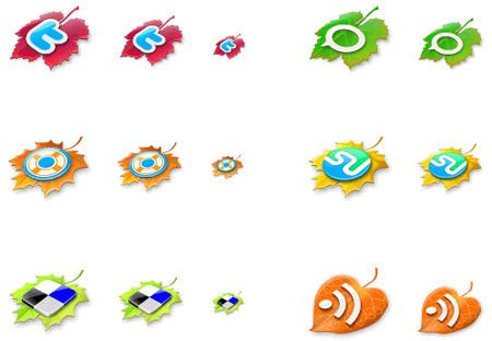 Leaves social media icons