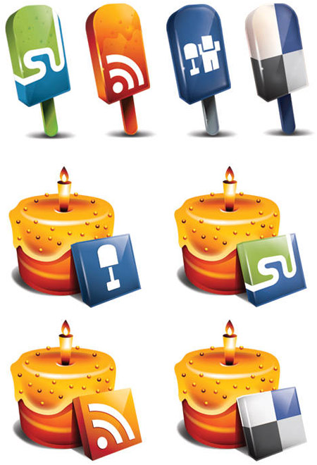 lollipop and cake social media icons