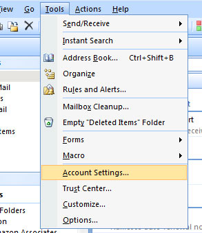 Open Outlook and select 'tools' (from the top menu) then select 'account settings'