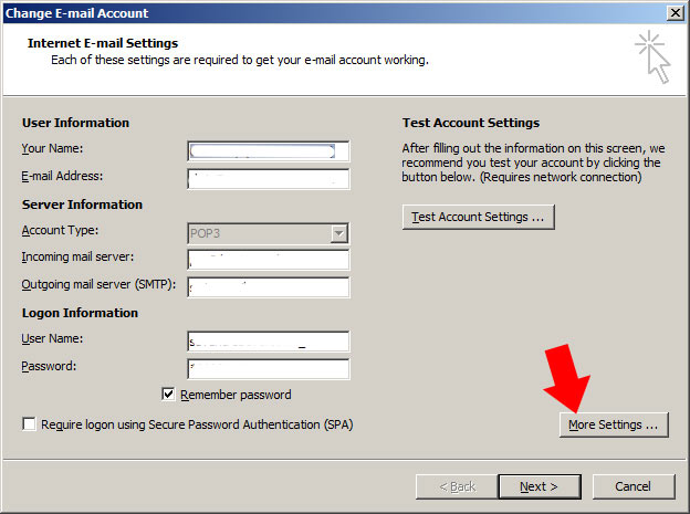 From the 'internet email settings' page, select 'more settings'