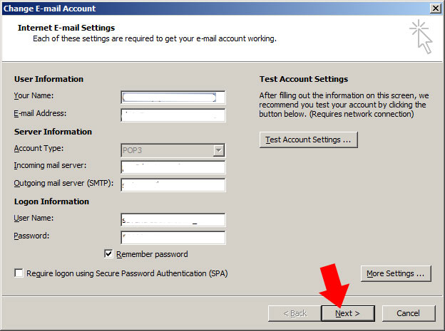 Back on the 'internet e-mail settings' page, click next to save the changes