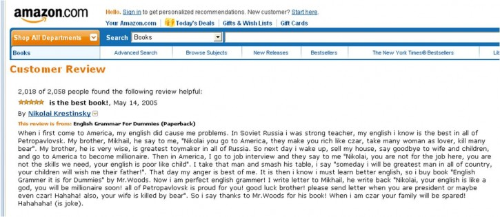 Spoof Amazon review for English Grammar for Dummies