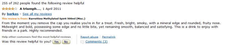 Spoof Amazon review for methylated spirit