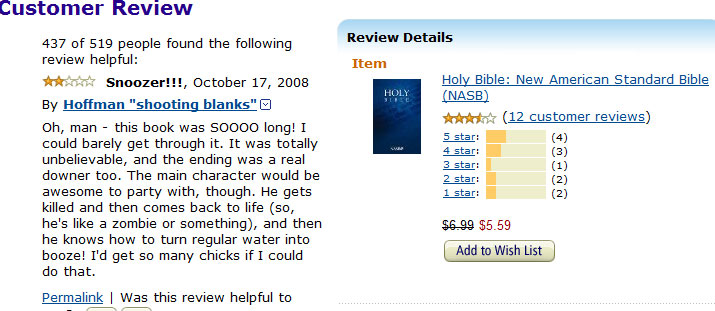 Spoof Amazon book review