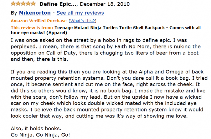 Spoof Amazon review for a turtle backpack