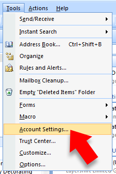 open Outlook and select 'account settings'