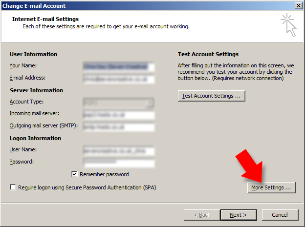 from the 'change email account' dialogue box select 'more settings'