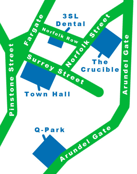 Q-Park to 3SL Dental - either through the Winter Gardens or past the Town hall