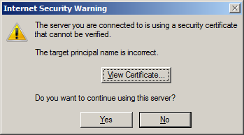 the server you are connected to is using a security certificate that cannot be verified. The target principal name is incorrect