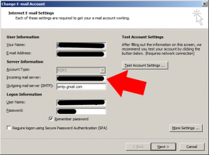 Change the incoming mail server address to match the certificate address