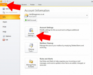 Open Outlook 2010, click 'file' option at the top of the screen, then click on 'account settings'