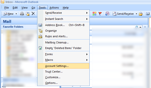 Select 'Tools' then 'Account settings'