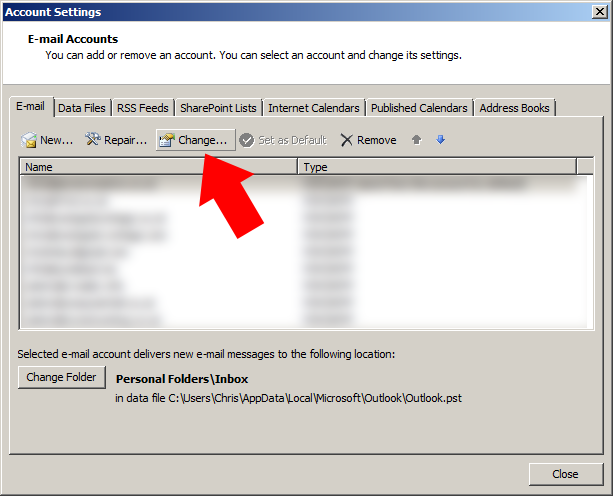 Highlight the email account you need to change and press the 'change' button