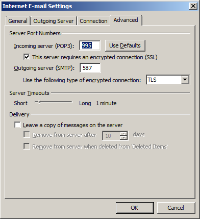 From the 'Internet email settings' dialogue box, select the 'advanced' tab