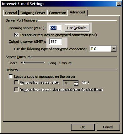 If your email account is not able to send emails, follow the steps 1 to 5 again then try changing your incoming port to 995 and your Outgoing port to 587, then step 8. If this doesn't work you can follow steps 1 to 5 then select 'restore defaults', then step 8