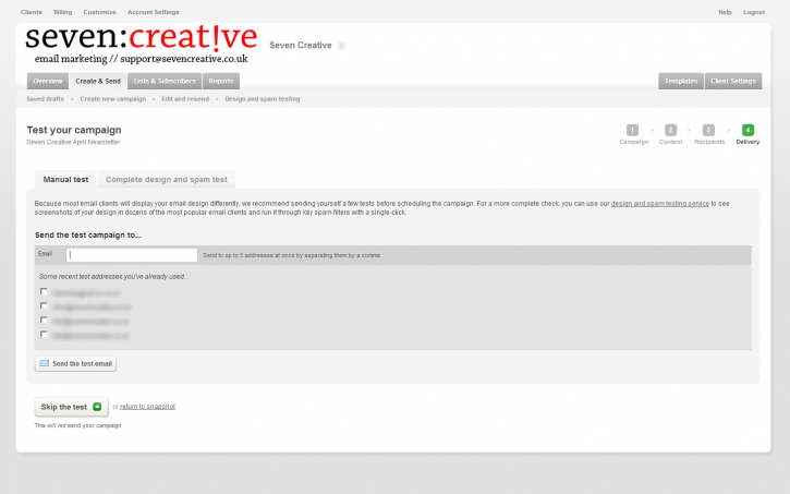 Seven Creative's email marketing system