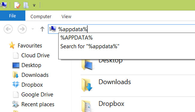 Open the file explorer, and type '%APPDATA%' (without the quotes) into the address bar at the top then press enter